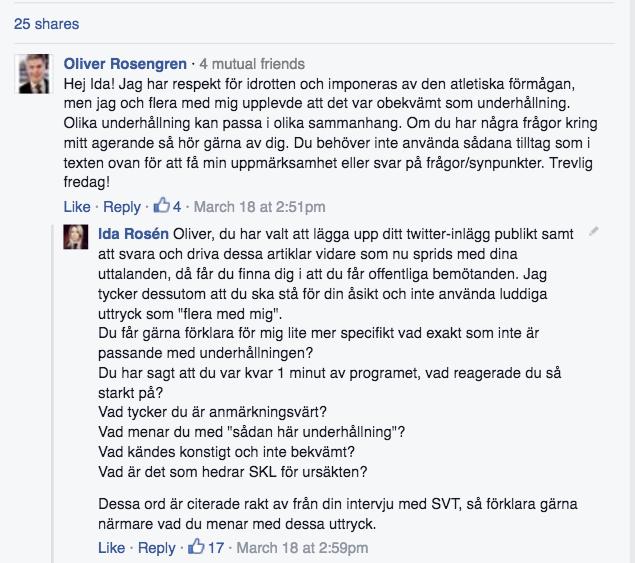 FB Inlägg Ida Rosén svar Oliver Rosengren 1