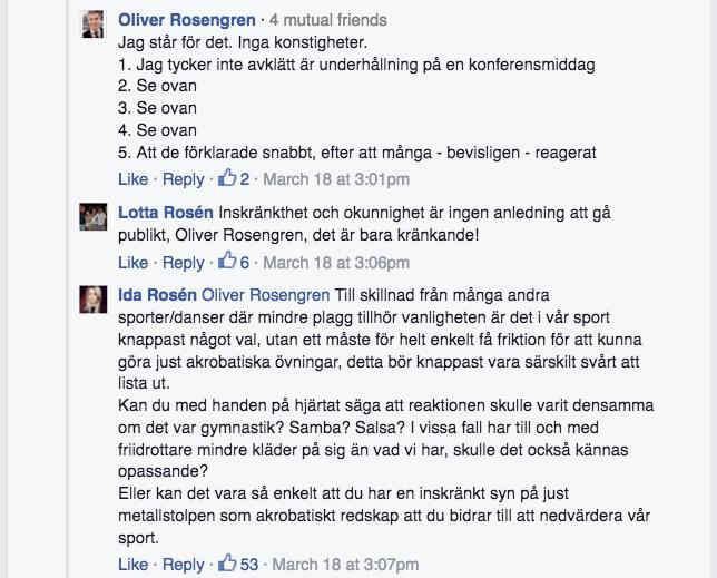 FB Inlägg Ida Rosén svar Oliver Rosengren 2