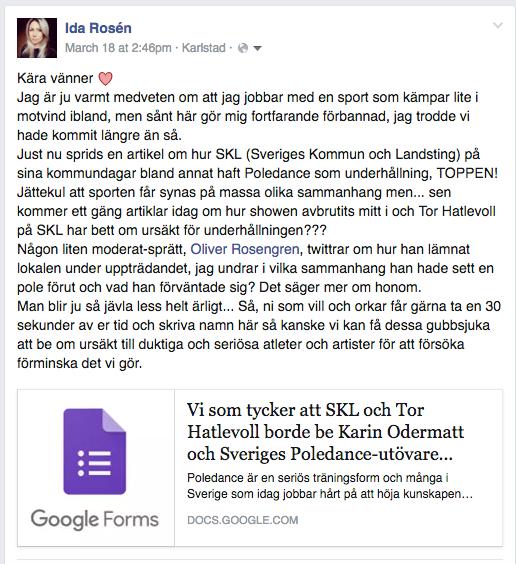 FB Inlägg Ida Rosén